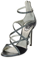 Rene Caovilla Strappy Crystal-Embellished Velvet Sandal, Gray Pattern