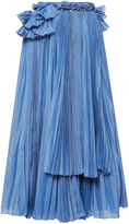 Rochas Pleated Skirt with Ruffle Detail