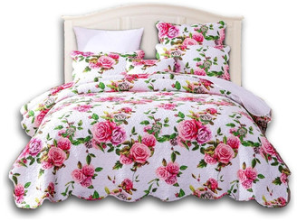 Romantic Roses Lovely Spring Pink Floral Scalloped Bedspread Set, Quee