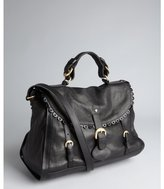 See by Chloe black leather 'Poya' scalloped buckle satchel