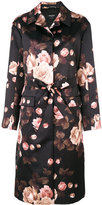Rochas floral belted midi coat - women - Polyester/Cupro/Viscose - 40