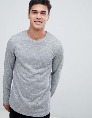 Asos DESIGN long sleeve t-shirt in twisted jersey textured fabric with curved hem in gray