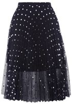 Petite foil spotted pleat skirt