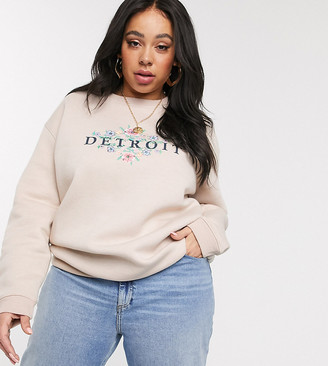 Daisy Street Plus relaxed sweatshirt with vintage detroit print-Beige
