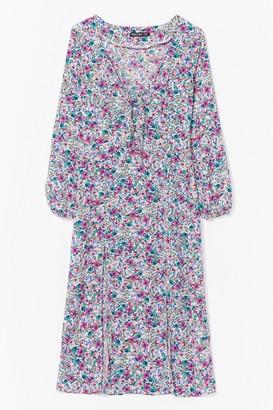 Nasty Gal Womens floral tie bust split leg tea dress - White