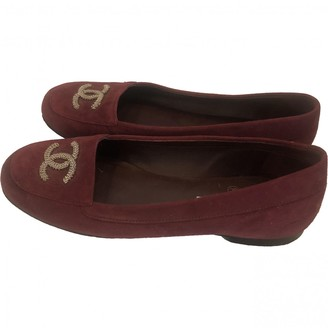 Chanel Burgundy Suede Flats