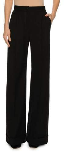 Dolce & Gabbana Cuffed Wide-Leg Pants, Black