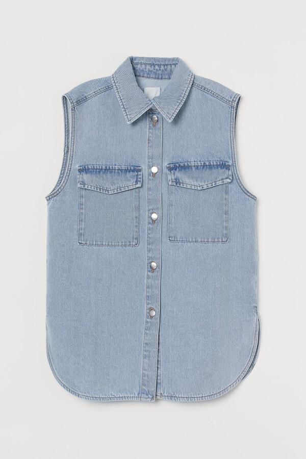 H&M Sleeveless Shirt Jacket - Blue