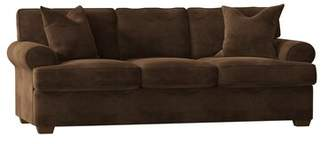 "Birch LaneTM Heritage Wright Cotton 89"" Recessed Arm Sofa Birch LaneTM Heritage Body Fabric: Microsuede Chocolate, Throw Pillow Fabric: Bayou Spray"
