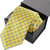 KissTies Mens White Tie Diamond Grid Necktie + Magnetic Gift Box
