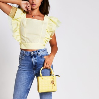 River Island Yellow sleeveless square neck hybrid top