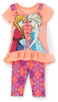 Children's Apparel Network Frozen Elsa & Anna Tee & Geometric Leggings - Toddler