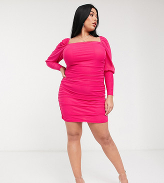 Saint Genies Plus square neck ruched mini dress in hot pink