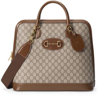 Gucci Medium 1955 Horsebit GG Supreme Canvas Top Handle Bag