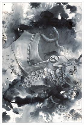 Jonathan Bass Studio Abstract Aqua, Decorative Framed Hand Embellished