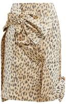 Calvin Klein - Brooch-embellished Leopard-print Silk Skirt - Womens - Leopard