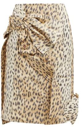 Calvin Klein Brooch-embellished Leopard-print Silk Skirt - Womens - Leopard