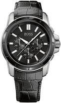 Hugo Boss Watch, Men's Chronograph Origin Black Leather Strap 46mm 1512926