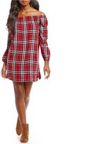 Chelsea & Theodore Off the Shoulder Plaid Dress
