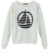 Petit Bateau Womens plain brushed fleece sweatshirt with striped logo patch