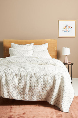Anthropologie Kantha-Stitched Juliette Quilt By in White Size Q top/bed