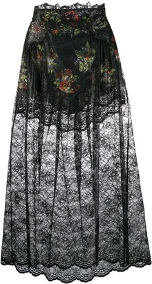Paco Rabanne Floral Lace Skirt