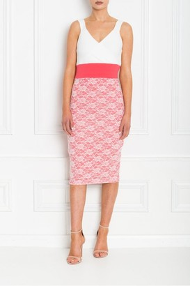 Honor Gold MADISON CORAL AND WHITE LACE MIDI DRESS