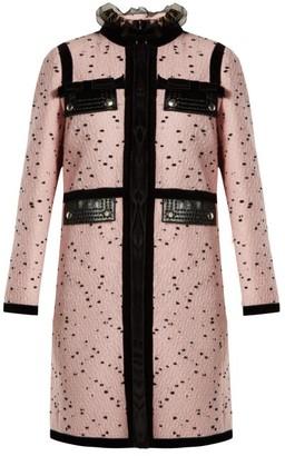 Giambattista Valli Velvet-trimmed Boucle Tweed Coat - Womens - Pink