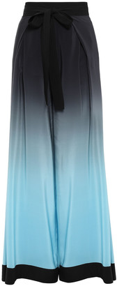 Thierry Mugler Belted Pleated Silk Crepe De Chine Wide-leg Pants