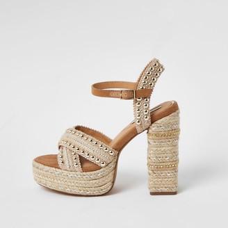 River Island Womens Beige studded espadrille platform sandals