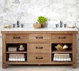 Pottery Barn Benchwright Reclaimed Wood Double Sink Console - Wax Pine Finish