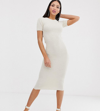 Asos Tall DESIGN Tall knitted t-shirt midi dress in natural look yarn