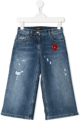 Dolce & Gabbana Heart Patch Distressed Jeans