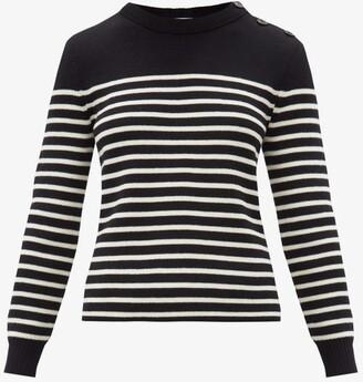 Saint Laurent Striped Cotton-blend Sweater - Black White