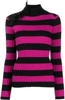 Gina ruffle-embellished striped jumper