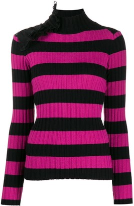 Gina Ruffle-Embellished Striped Jumper