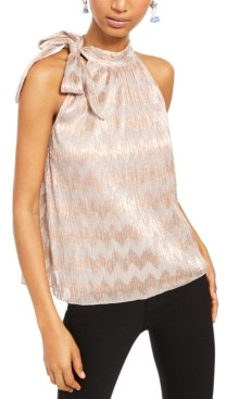 INC International Concepts Inc Tie-Neck Shine Halter Top, Created for Macy's