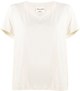 Semi-Couture embroidered pleated panel T-shirt