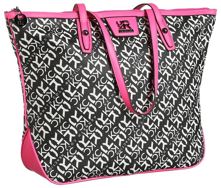 Kenneth Cole Reaction Essex Tote (Black/Bone/Pink) - Bags and Luggage