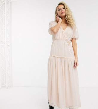Reclaimed Vintage inspired wrap maxi dress with embroidery detail