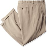 Savane Men's Big and Tall Pleated Micro Melange Dress Pant