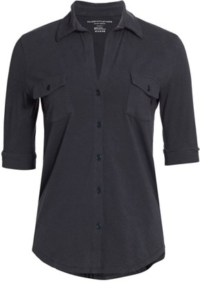 Majestic Filatures Stretch Button-Down Shirt