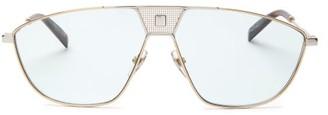 Givenchy Monogram-rivet Navigator Metal Sunglasses - Mens - Silver