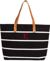 Cathy's Concepts Personalized Black Striped Tote with Leather Handles