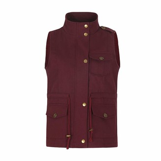 Gtagain Womens Lightweight Military Vest - Stand Neck Zipper Solid Outcoat Drawstring Jacket Vest Utility Stretchy Safari Waistcoats with Zipper and Pocket Wine Red