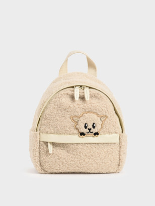 Charles & Keith Girls' Bear Motif Furry Backpack
