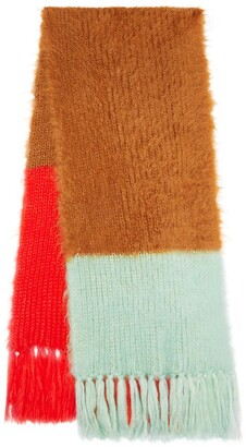 Burberry Colour Block Chunky Knit Mohair Silk Scarf