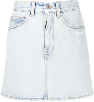 Off-White Printed Logo Denim Skirt