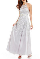 B. Darlin High Neck Illusion Yoke Beaded Embroidered Ball Gown