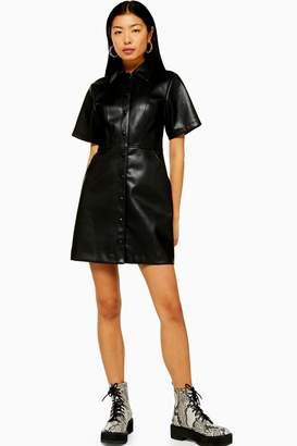 Topshop Womens Black Faux Leather Pu Shirt Dress - Black